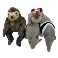 TY Beanie Babies Lot of 4 Jungle Animals With Tags Slowpoke, Spike, Tank & Ants