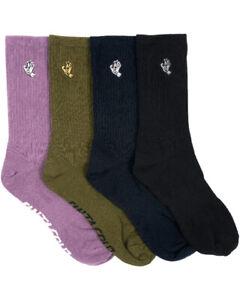 Santa Cruz Socks 4 Pack MONO HAND ASST Crew Size 7-11 Skateboard Sox