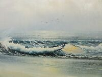 Jean-Francois - Gemälde 1996: WELLEN, MÖWEN + STRAND BEI PERROS-GUIREC, BRETAGNE