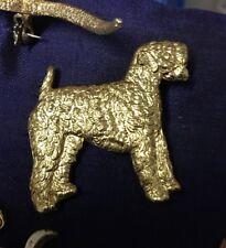More details for vintage kenart 1970s gilt golden  kerry blue terrier dog ,pin brooch