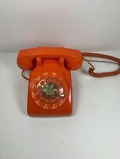 Vintage ITT Orange Rotary Dial Mid Century Desk Phone Telephone NICE Works!