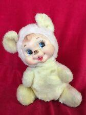 "1950's Vintage Rushton 9"" Pink & Cream Rubber Face Plush Teddy Bear"