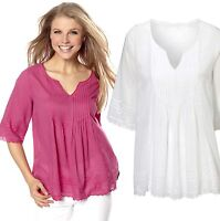 Ladies UK Size 6 - 12 Cotton Tunic Tops White Cerise Pink Broderie Anglaise