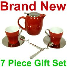 NEW 7 PIECE RED CERAMIC WILD LEAF TEA SET,POT/CUPS,STAINLESS LID,MESH INFUSER