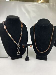 Brown Beaded Lanyard With Brown Beaded Necklace And Amber Earrings