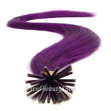 25 Purple Pre Bonded I Stick Glue Tip Bead Links Remy Human Hair Extensions 22""