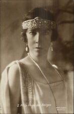 La Reine de Belges Queen of Belgium Pearls & Crown Real Photo Postcard