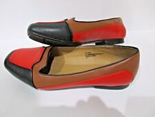 Comfort View Flats Loafers Size 8W Man Made Materials Vegan Brown Red Black