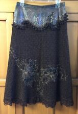 """Womens sz 2 31"""" Forwear New York Artsy skirt brown lace embroidered  long"""