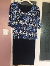 NEXT WOMENS DESIGNER BLUE WHITE PATTERN DRESS SZ 10 SKIRT TOP STYLE TRENDY