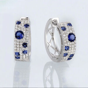 2.5Ct Round Cut Blue Sapphire and Diamond Huggie Earrings 14K White Gold Finish