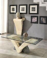 Tavolino da Salotto in Pietra Fossile e Vetro Bicolore