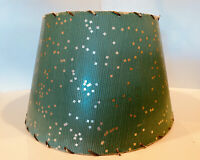 Vintage Mid Century Cardboard Paper Lamp Shade Green with Silver Specs
