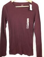 NWT GAP Women's Favorite LS Crew T-Shirt Burgundy XS S NEW Free Shipping