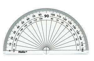 Helix 10cm 180 degree Protractor Box of 50