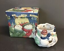 Vintage Ceramic Snowman Votive Candle Holder By Sherwood Brands R.I. Inc - Cute!