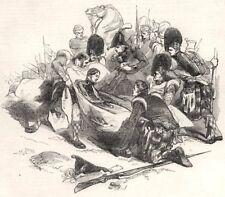 The death of Sir John Moore. Spain, antique print, 1843