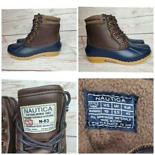 Nautica Channing Men Boots Waterproof Snow Insulated Duck Brown Navy SIZE 10