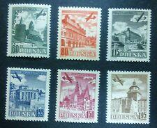 POLAND STAMPS MNH 1Fi715-20 ScC35-40 Mi855-60 - Airmail,1954,clean,Slania,Słania