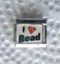 """I LOVE TO READ""-ON WHITE ITALIAN 9MM CHARM-BOOKS, MAGAZINES, KINDLE"