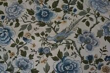 Vintage Waverly Bonded Fabric CHIPPENDALE FLOWERS w/ Birds Sold by Yard