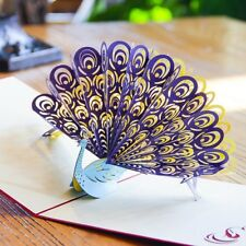 3D Peacock Card~ Thank You Happy Birthday Invitation Popup Greeting Card