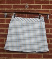 Adidas Womens Skort Shorts Skirt 14 Tennis Golf Blue Plaid ClimaCool Sports Tan