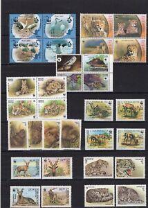 8x Belarus Somalia Kyrgyzstan Lao Uzbekistan WWF Timbres Briefmarken MNH** Del.5