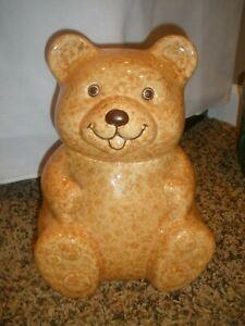 "VTG  Ceramic Tan Teddy Bear Cookie Jar 10"" Tall"