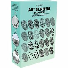 Young Nails CAPTION Nail Art Screen ESCAPE ARTIST Stamping Kit 2 Plates, 1 Stamp