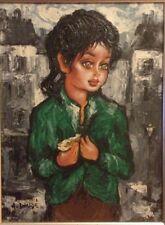 "Mid Century Portrait Painting Listed Signed A Daude' ""Big Eyes"" French Impasto"