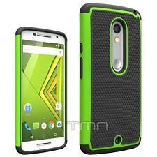 Fits Motorola Moto X Play Case Rugged Impact Hybrid Shockproof Cover - Green