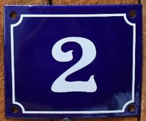 Vintage Style Blue Enamel Porcelain French House Number Door Steel Metal Sign 2