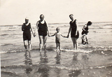 DL103 Photographie photo vintage snapshot plage beach maillot bain vague