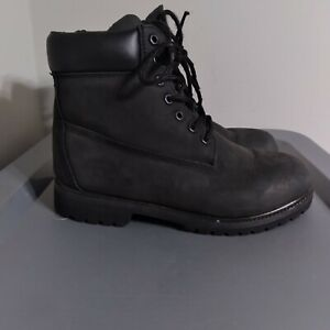 Timberland Premium Mens Size 8.5M Shoes Black Leather Nubuck 6 Inch Classic Boot