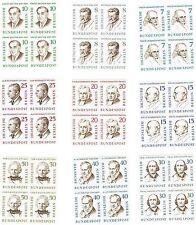 1957 Famous Men of Berlin - Set 9 x Blocks of 4 - 36 Stamps - BERLIN