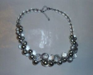 Vintage Silver and Clear Bead Necklace
