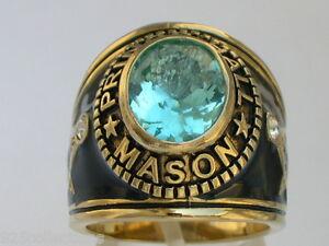 12x10 mm Prince Hall Mason Masonic March Aqua Marine Stone Men's Ring Size 7
