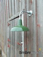 """Vintage Barn 14"""" Dome Shade Green Porcelain Gas Station Industrial Wall Light"""