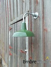 "Vintage Barn 14"" Dome Shade Green Porcelain Gas Station Industrial Wall Light"