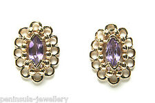 9ct Gold Amethyst Stud Earrings Made in UK Gift Boxed Studs