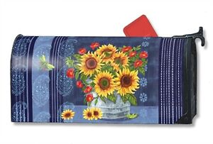 Denim Sunflowers Mail Box Wrap fall flowers magnetic mailwrap mailbox cover