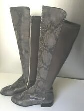 Michael Kors Bromley Gray Snakeskin Python Leather Over The Knee Boots 7.5