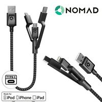 Nomad 3 in 1 Lightning, Micro USB, Type C USB Data Cable .3m Tough Apple Black