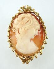 Possibly David Webb 18k Yellow Gold Shell Lady Portrait Cameo Brooch Pendant