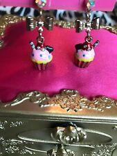 Betsey Johnson Paris Is Always A Good Idea Pink Crystal Cupcake Sweet Earrings