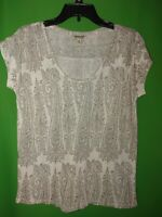4391) NWOT LUCKY BRAND x-small brown floral pullover linen blend knit top new XS