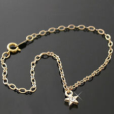 """STAR CRYSTAL CHARM 11"""" Fancy OPEN link 14K GOLD EP Anklet Ankle Foot Chain 