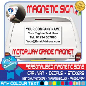 PERSONALISED BUSINESS NAME MAGNETIC SIGN Car Van Rear Door Sign Writing Vinyl
