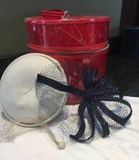Vintage Hat Wig Box Round Zip-Up Red Storage Box Plus Two Hats Skol Nips